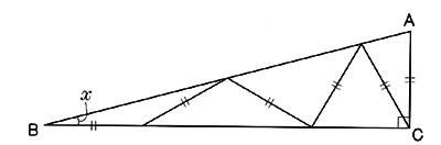 連続する二等辺三角形の角度の法...